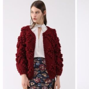 CHICWISH Knit Your Heart Cardigan in Wine